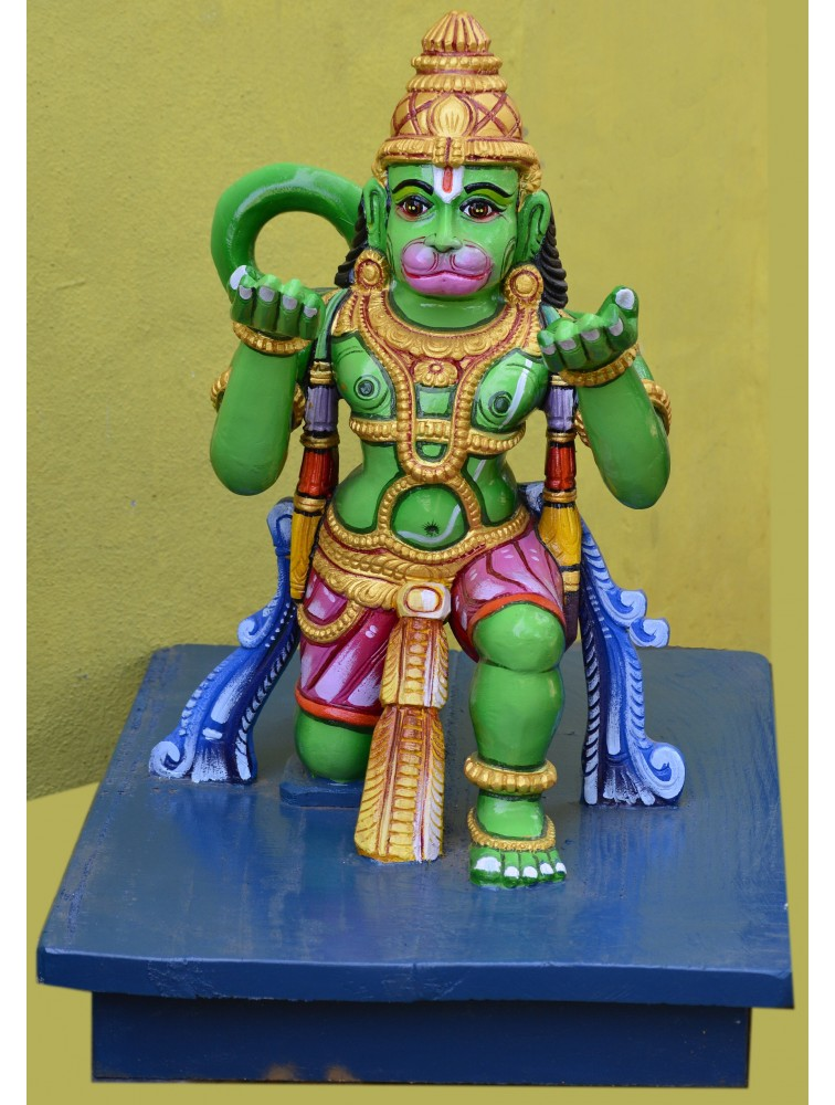 Lord Hanuman with Garuda Vahana wooden statue