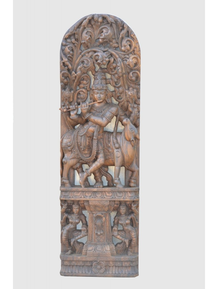 Wooden Jolly Work of Mathana-Gopala With Cow