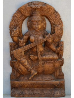 Wooden Saraswathi With Arc