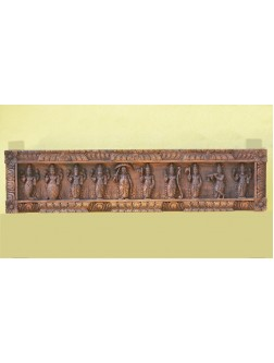 Lenghty Wooden Wall frame of Lord Vishnu and Krishna