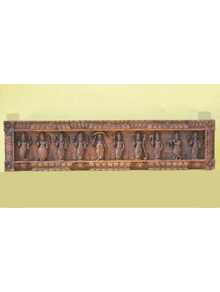 Wooden Dasavathar Wall Mount Panel