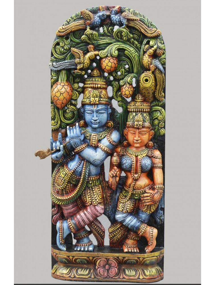 Multicolored Radha Krishna Wooden Jolly Work Sculpture