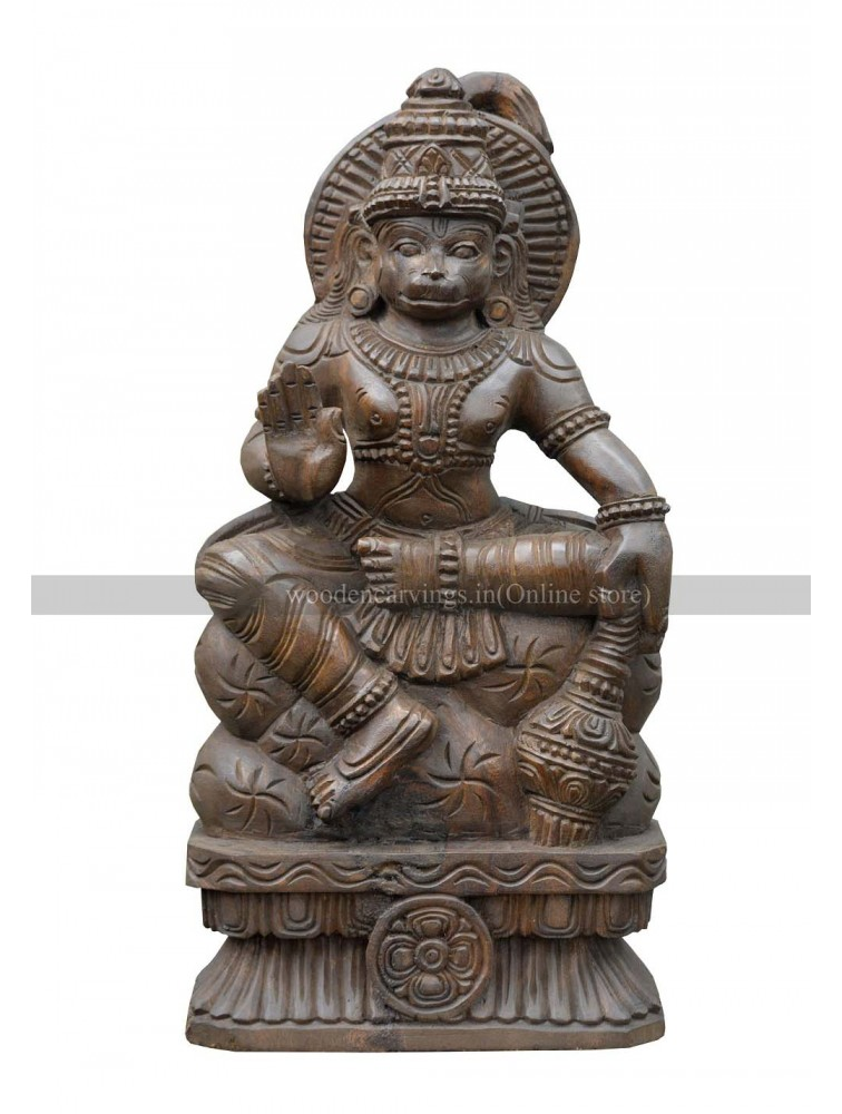 Lord Hanuman Holding Gada and Blessing Wooden Sculpture