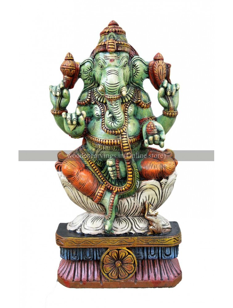 Multicolored  Wooden Ganapathi Seated On White Lotus