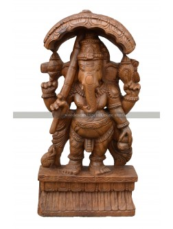 Wooden Idol Of Bridegroom Ganesha Holding Umbrella