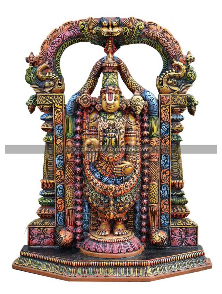 Multicolored Wooden Thirumala Balaji Wooden Sculpture