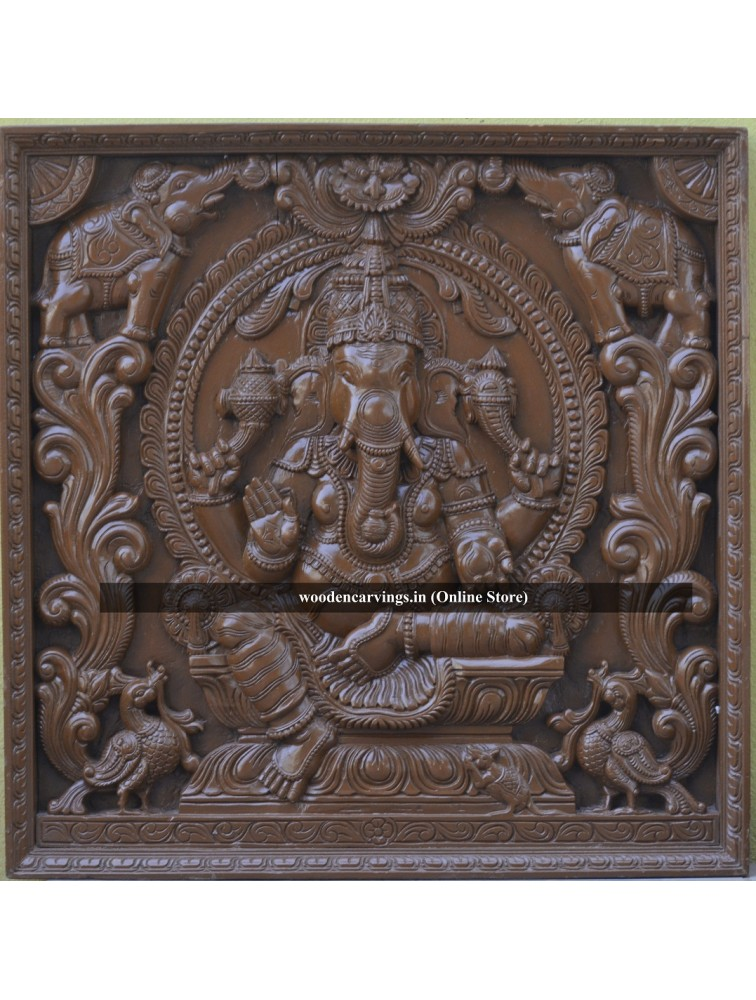 Teak Wood colour Wooden MahaGanapathi Square Panel