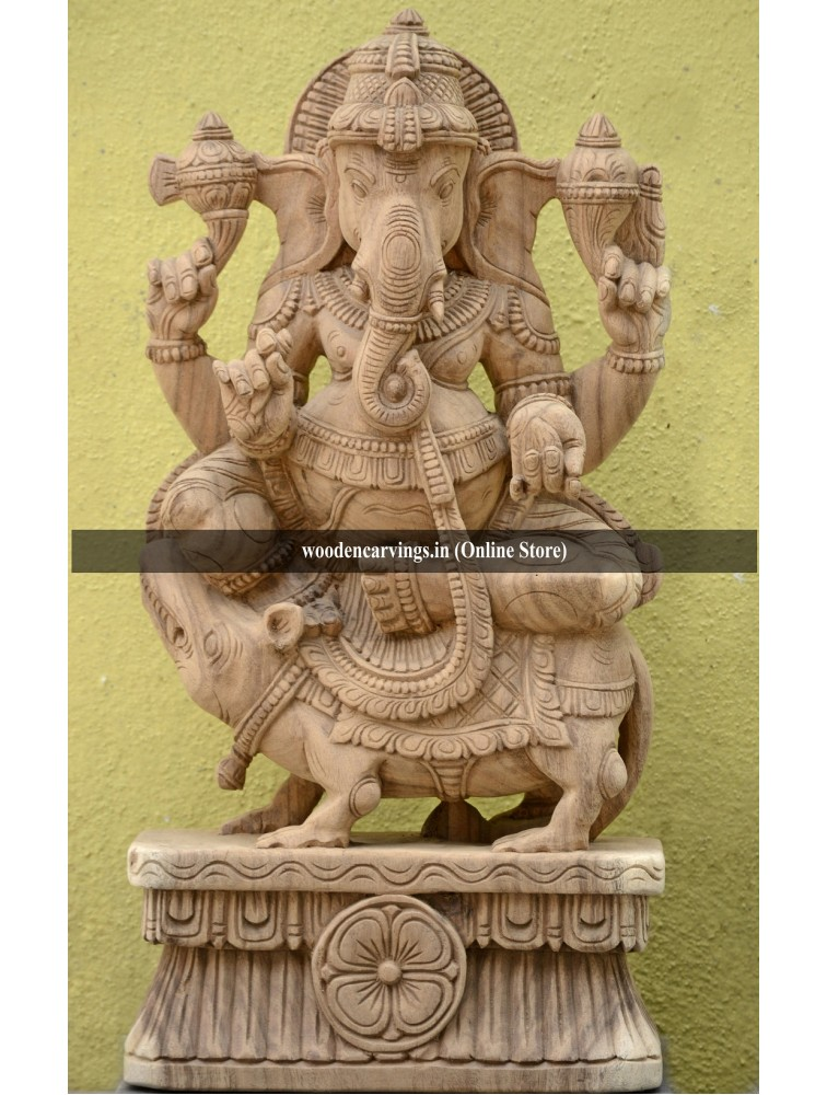 Wooden Ganapathi on Mooshak Vahanam