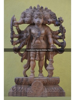 Panchamukhi Hanuman (Five Headed)  Wooden Sculpture