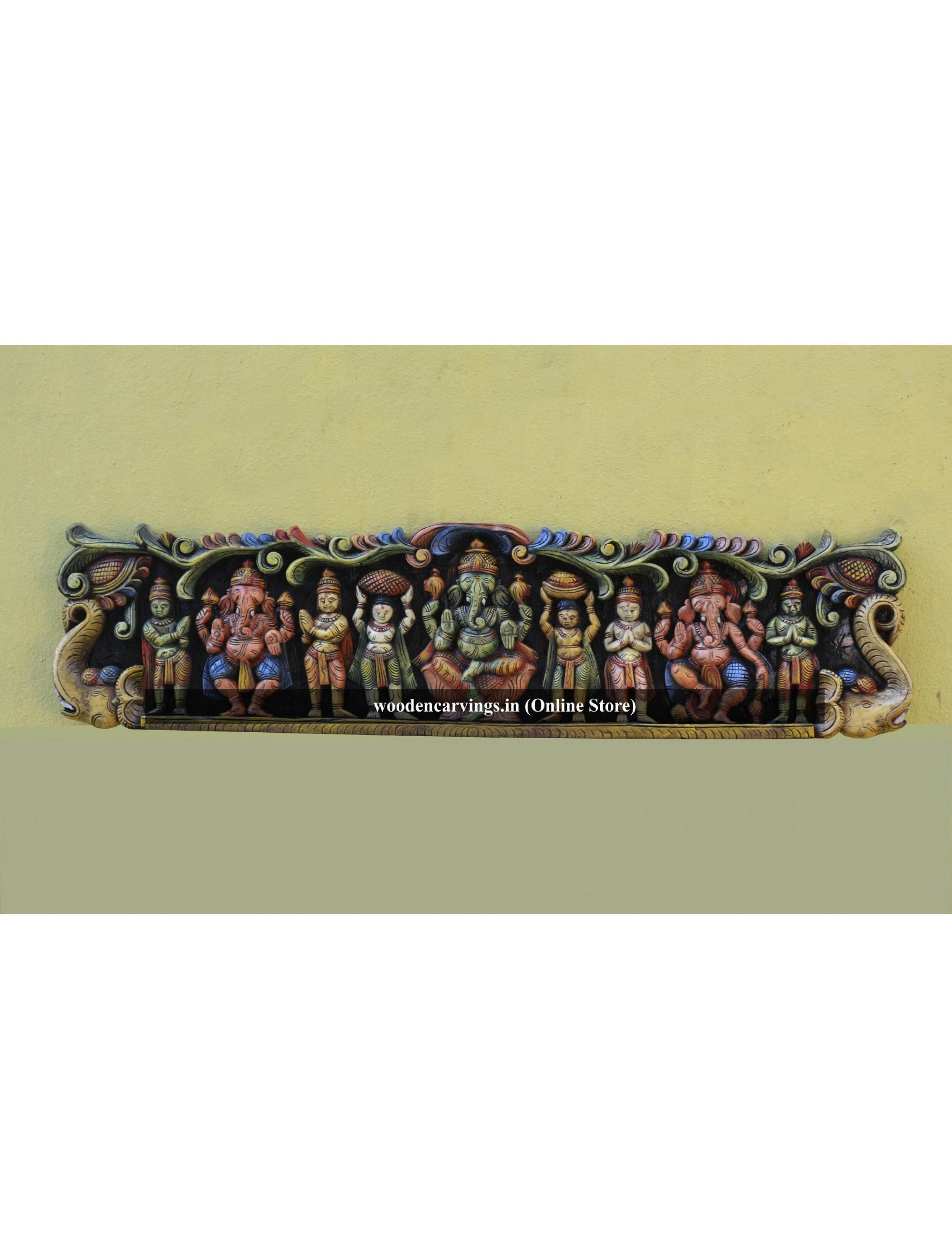 Three Ganesh With Servants and Boodhaganam Wall mount frame