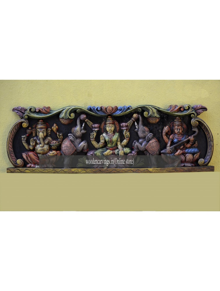 Multicoloured Ganesa,Lakshmi and Saraswathi Wooden Wall hangings