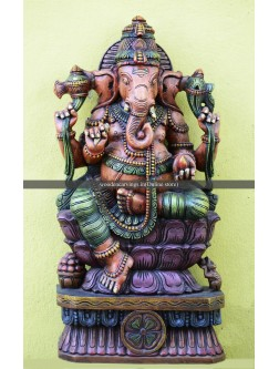 Wooden Ganapathi on Double petal Lotus Multicoloured