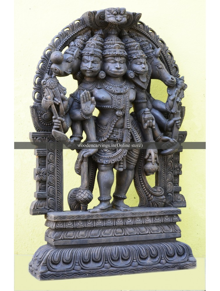 Wooden Panchamukhi Hanuman Sculpture with Arch