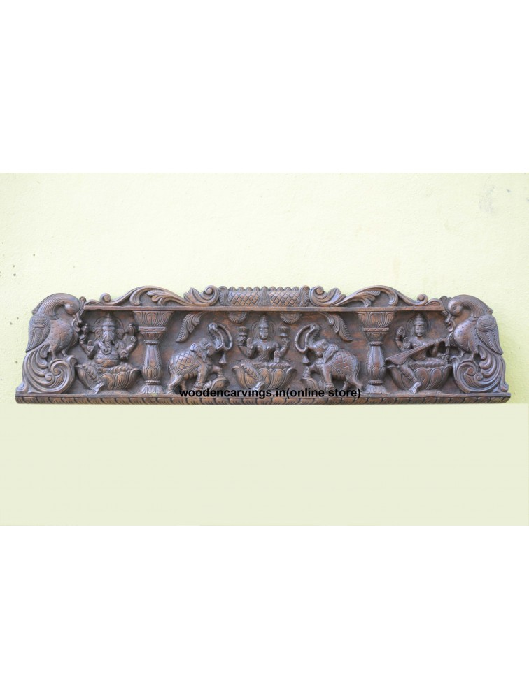 Gajalakshmi,Ganapathi and Lakshmi with Pillar design Wall mount