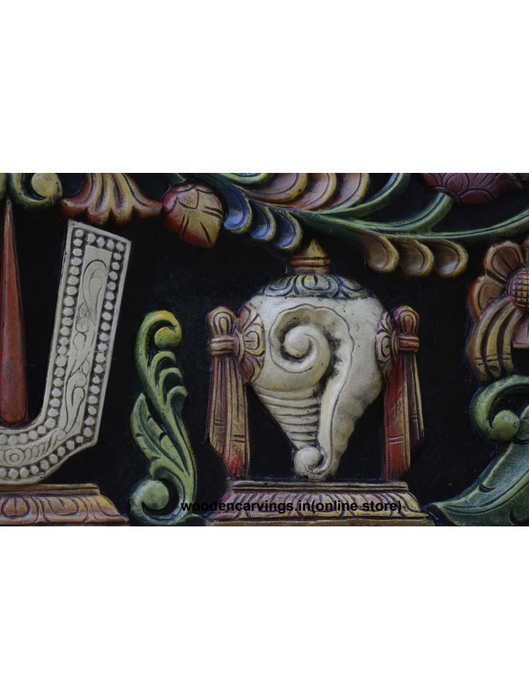 Lord Balaji Thilak,shank and Chakra Wooden Wall Panel