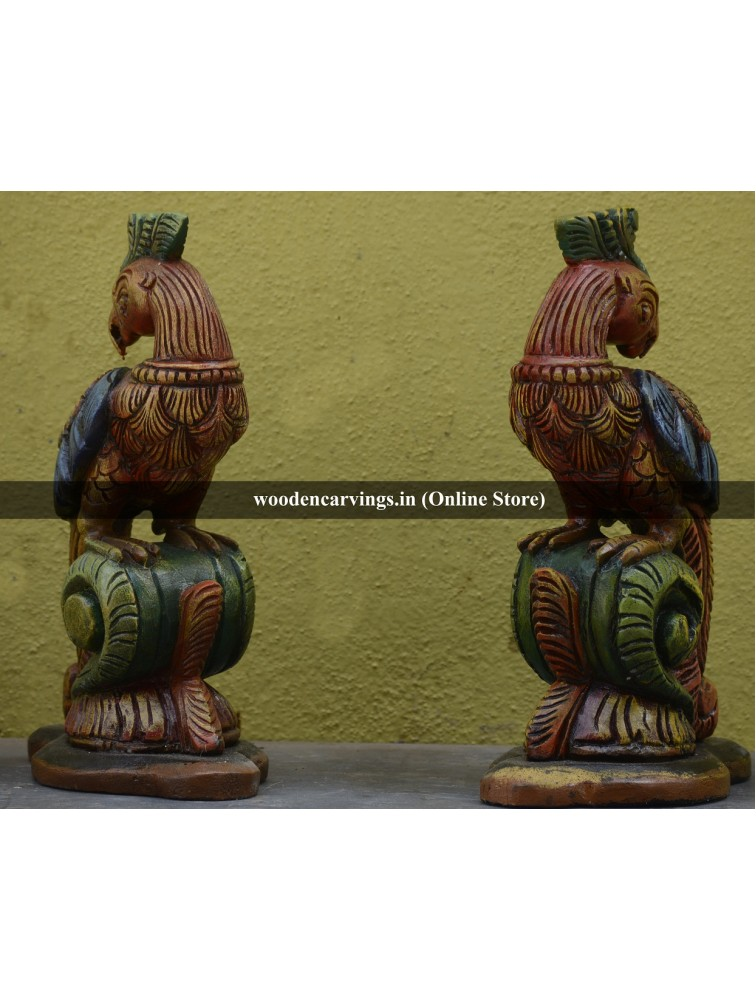 Table top Wooden Coloured Parrot