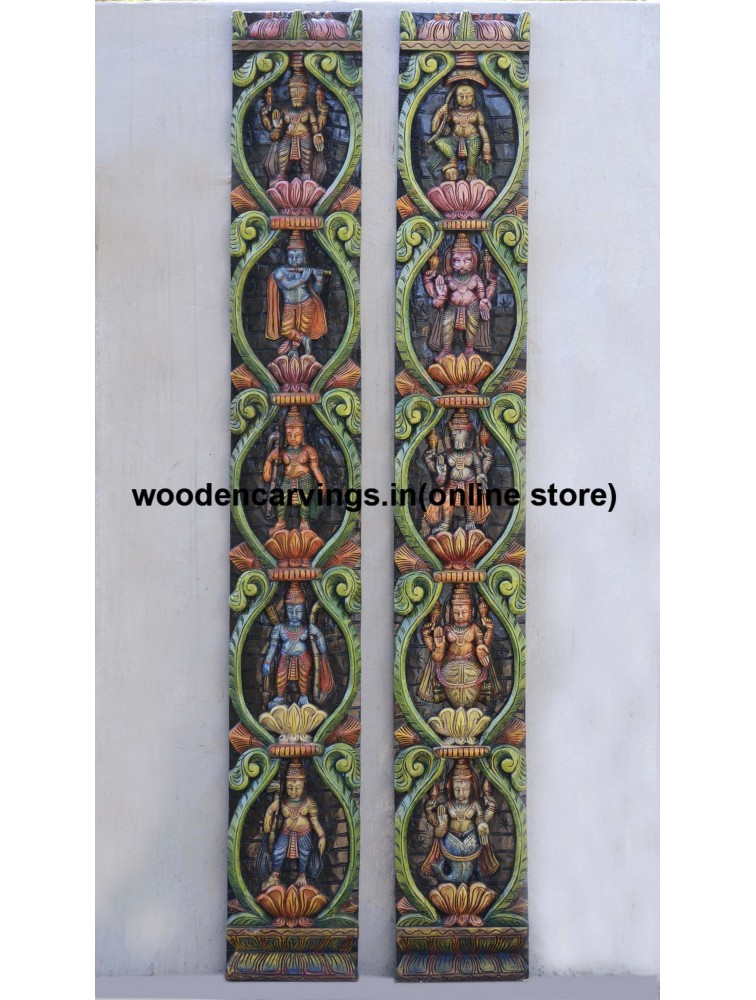 Vertical Dasavatar Wooden Wall Fixing Panels