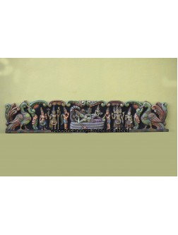 Multicoloured Ranganatha wooden Wall Mount Panel