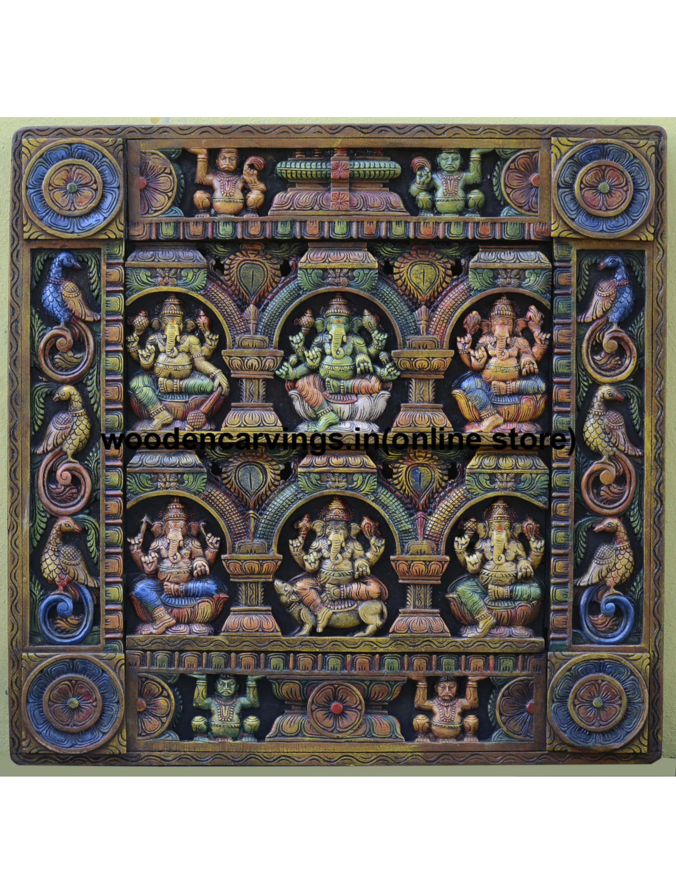 Ganesha Wooden Square Multicoloured Wall Fixing Panel