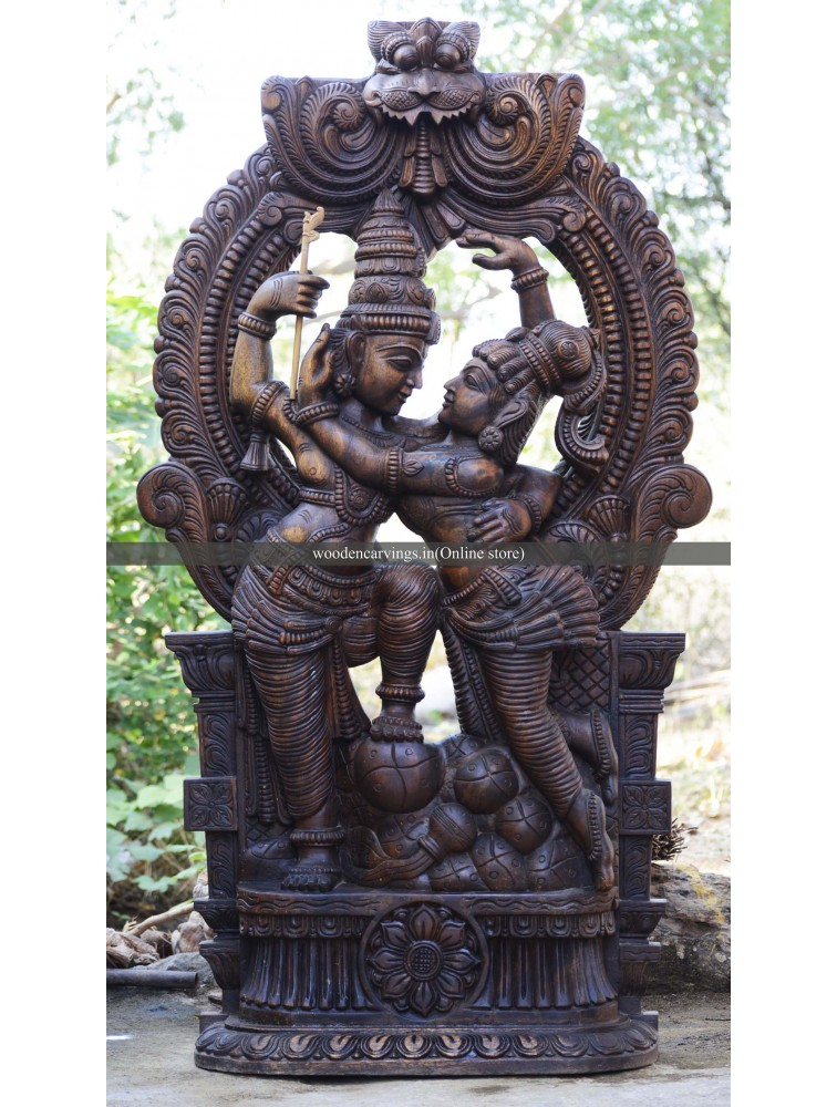 Wooden Radha and Krishna With Kirtimukha Arch Sculpture
