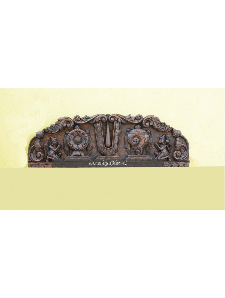 Ram,Sangu and Chakra Wooden carved panel with Hanuman and Garuda