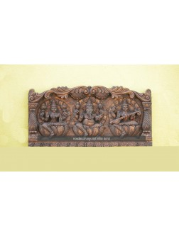 Lakshmi, Ganesh and Saraswathi Ji Wooden Wall Fixing Sculpture