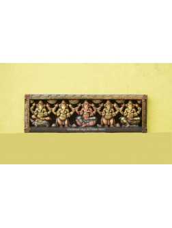 Five Ganesa Wooden Multicolured Wall Panel