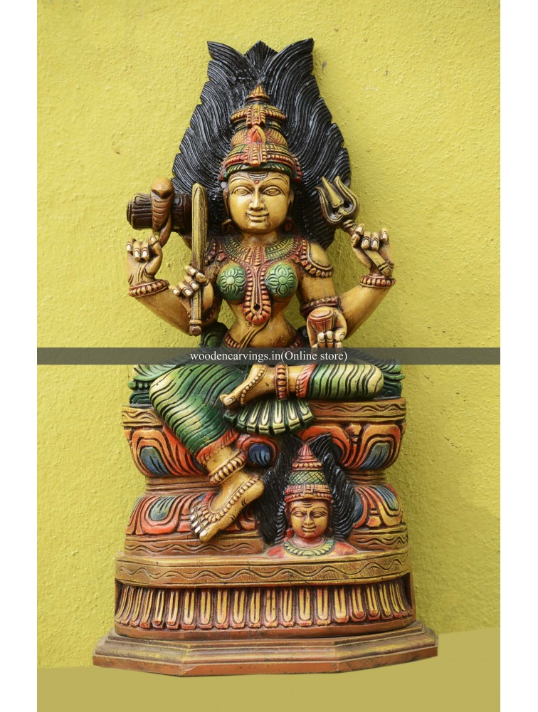 Goddess Devi (Amman) Wooden Multicoloured Sculpture
