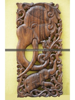 Wooden Elephant Wall Mount Panel