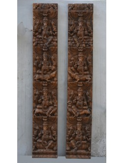 Wooden Ganesh in Different Peeda Vertical Wall Mount Panel