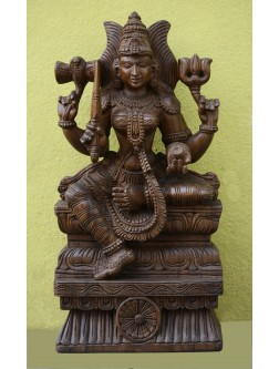 Wooden Goddess Sakthi (Amman) Devi Sculpture