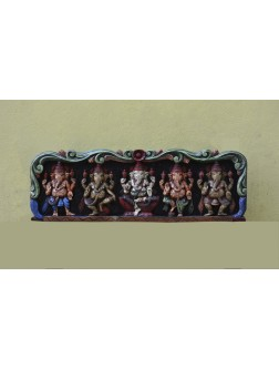 Multicoloured Pancha Ganesha Wall Mount Panel