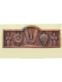 Wooden Relief of Ram,Sankh and Chakra With Hanuman and Garuda