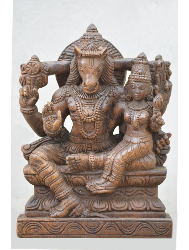 Lord Hayagriva With Goddess Lakshmi Wooden Statue