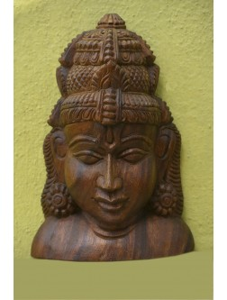 Beautifully Carved Lord Vishnu Wooden Bust