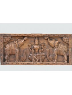 Goddess Lakshmi Wooden Wall Panel
