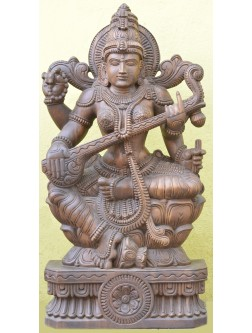 Wooden Sculpture of Saraswathi Playing With veena