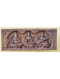 Ganesh ,Lakshmi ,and Saraswathi  Wooden Wall Mount Panel