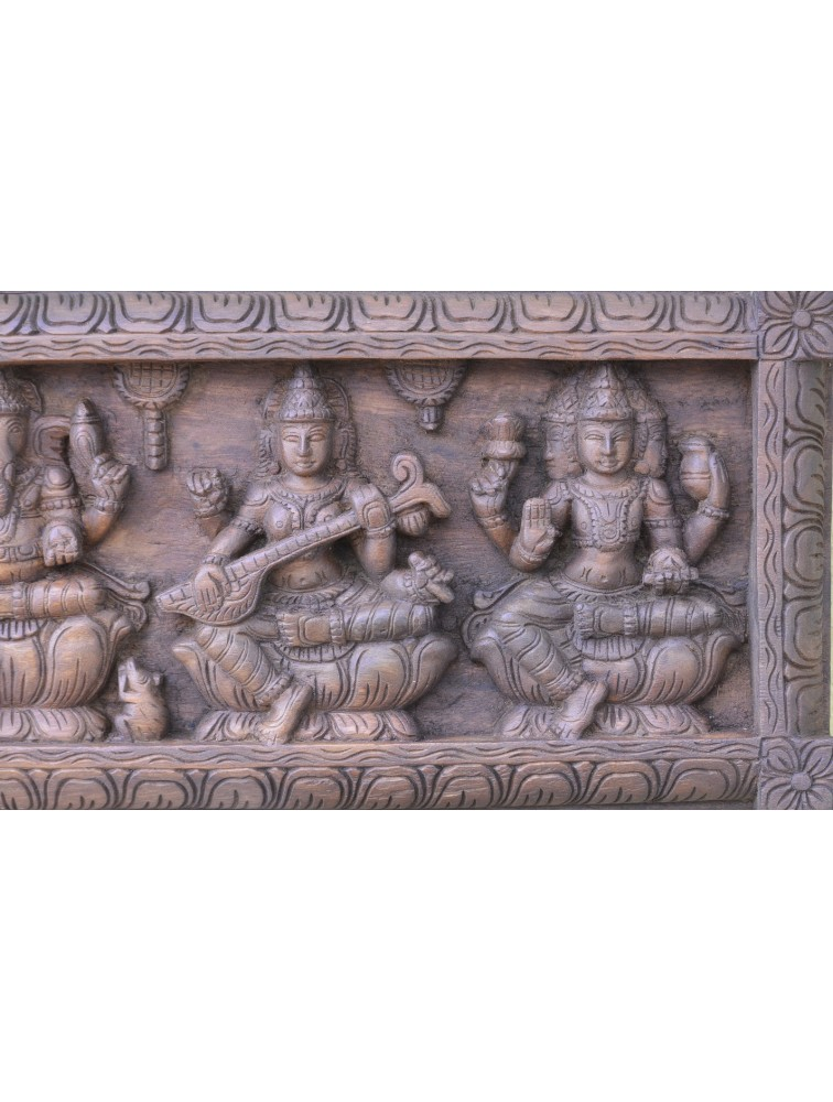 Wooden Wall Mount Panel of Hindu God and Goddess
