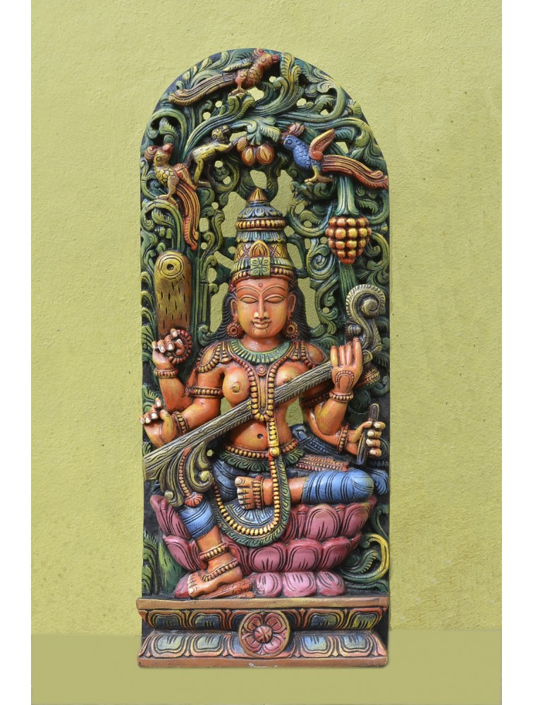 Wooden  Saraswathi Playing With Veena Multicoloured Sculpture
