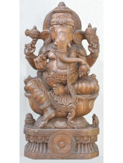 Ganapathi seated on a lotus with Mooshiak  Wooden Sculpture
