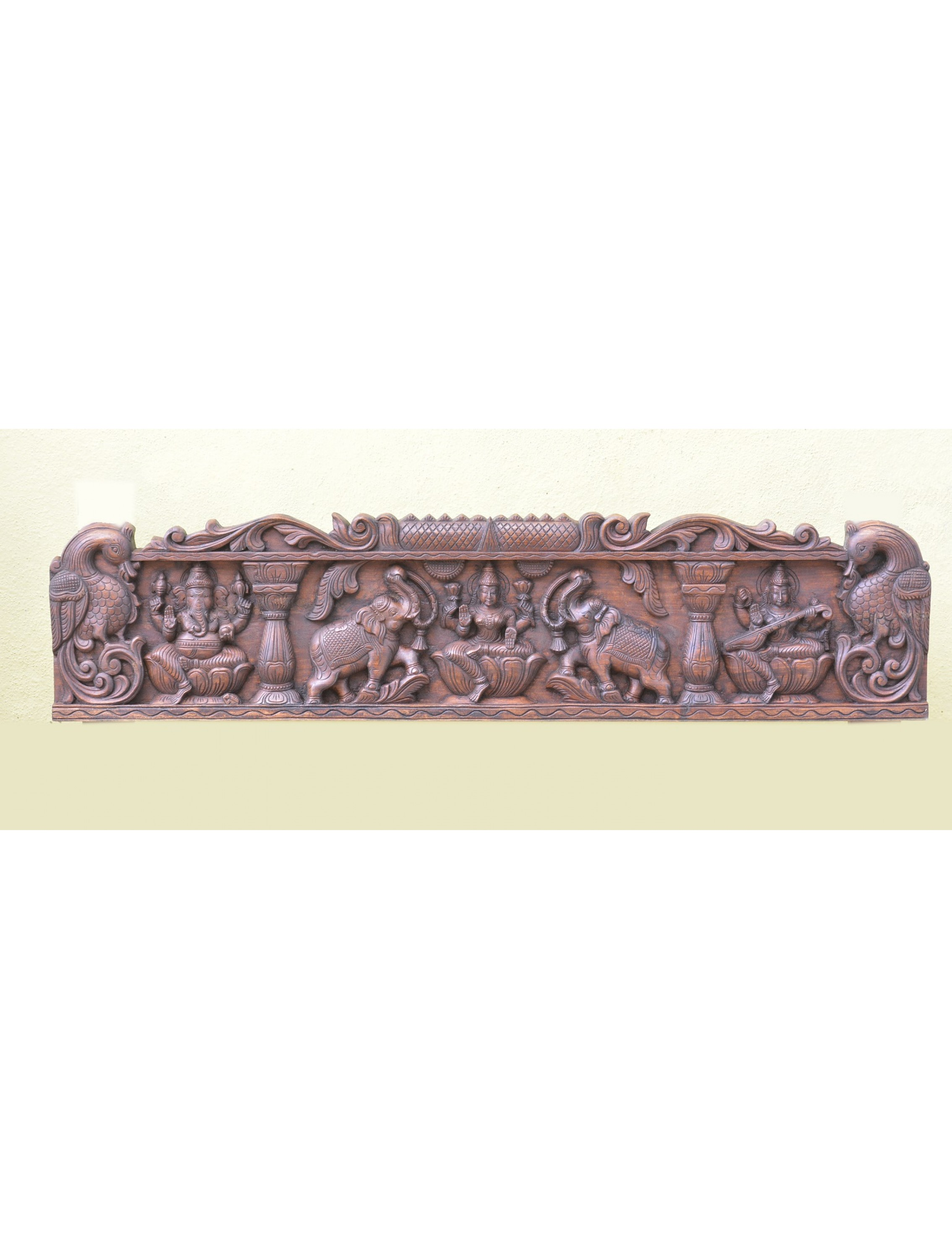 Gajalakshmi With Ganesh And Saraswathi Wooden Wall Mount Panel