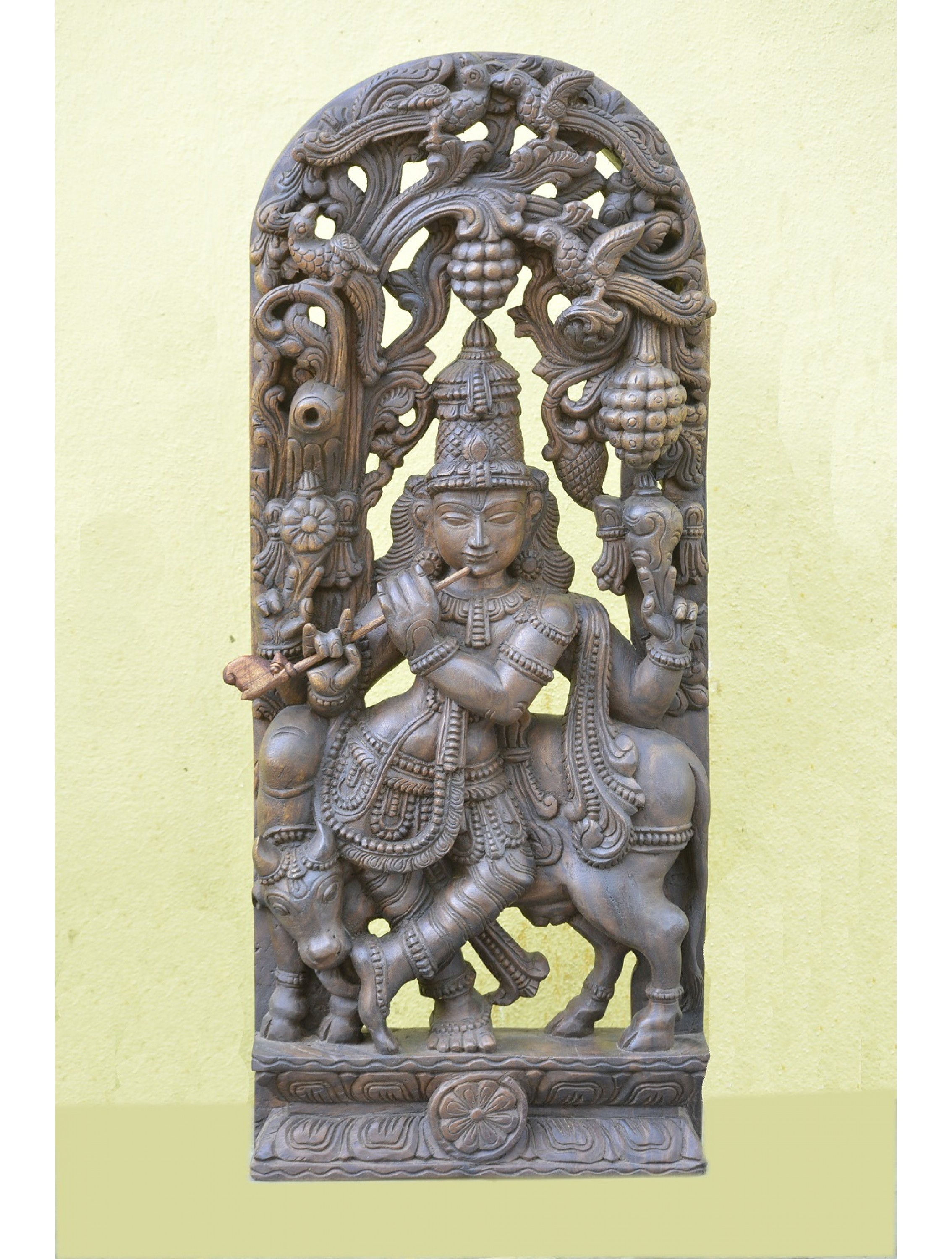 Wooden Jolly Work of Krishna playing Flute With Cow