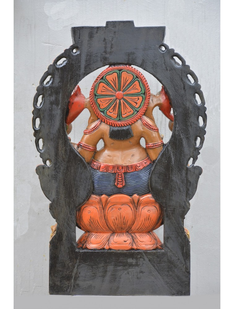 Multicolored Ganesh With Arch Wooden Deity