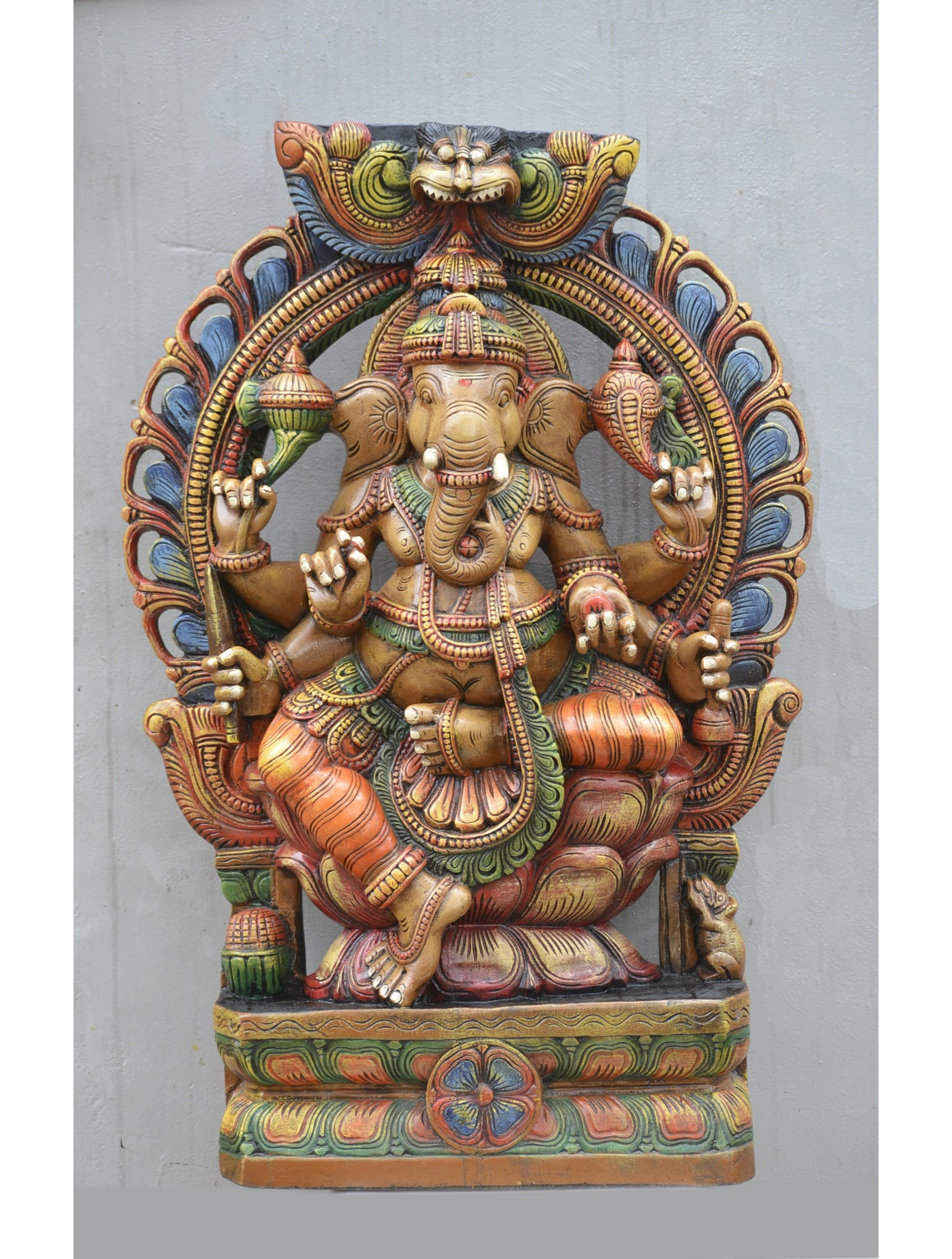 Large Size Multicolored Ganesha Statue With Floral Arch Design