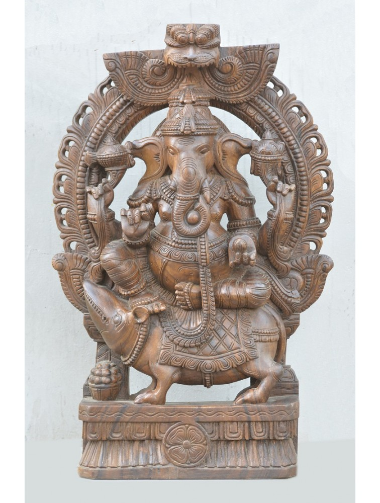 Wooden Utkutahasana Ganesh on Mooshak Wooden Sculpture