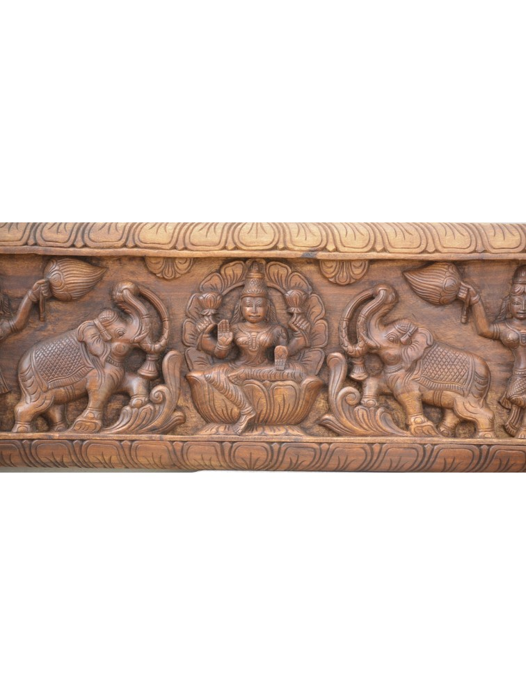 Kajalakshmi Wooden Wall Mount With Annam and Servants