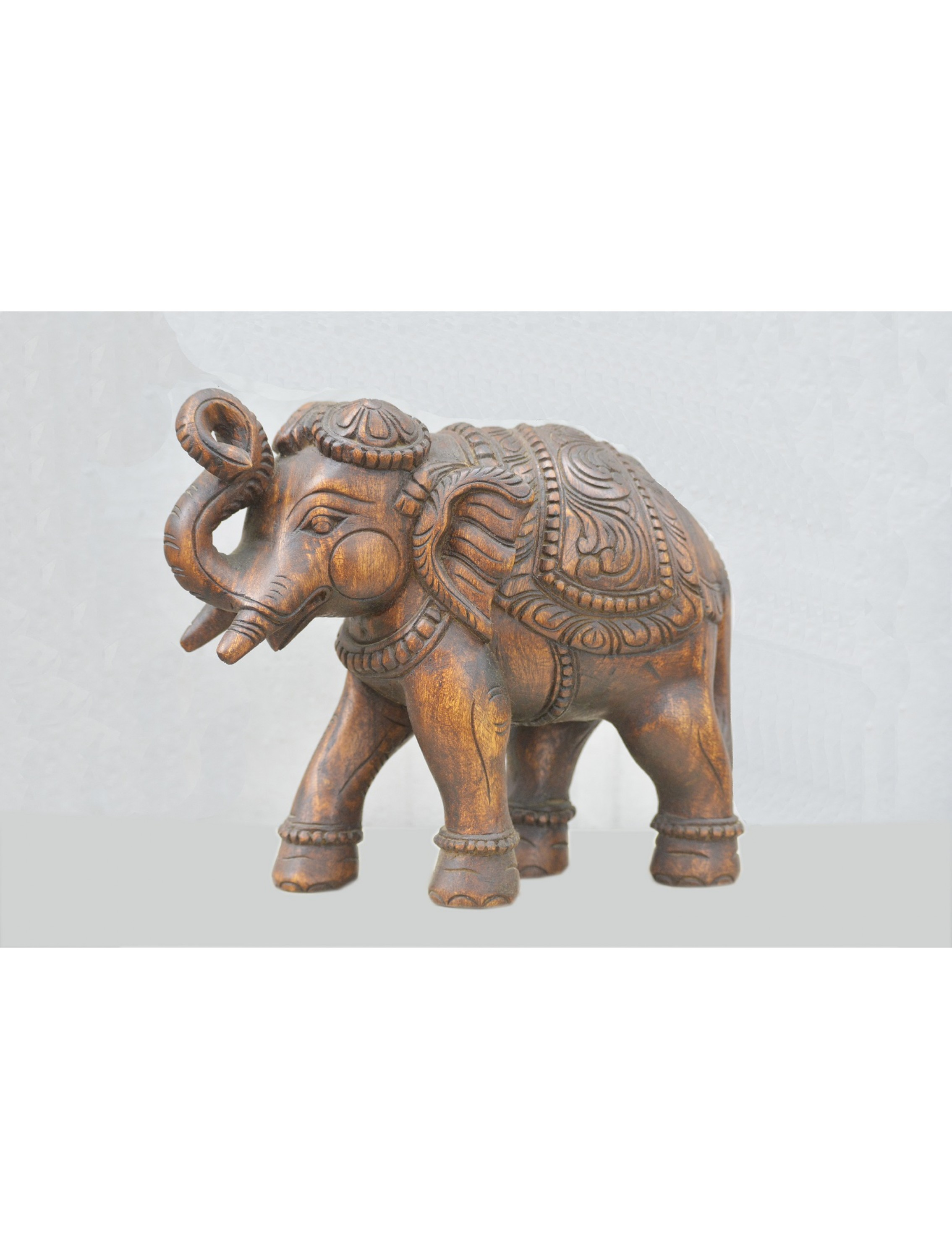 Lift Trunk Elephant Wooden Sculpture