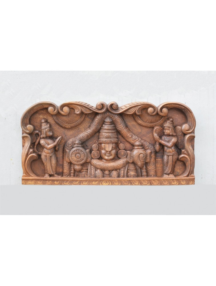 Wooden Thirumala Balaji Wall Mount Panel