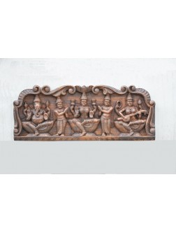 Gajalakshmi With Ganesh And Saraswathi Wooden Wall Panel